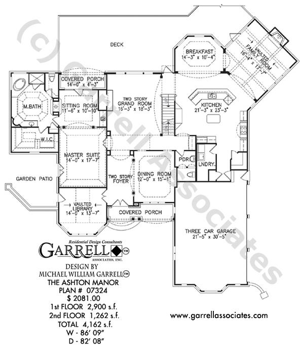 596x700 Ashton Manor House Plan House Plans By Garrell Associates, Inc.