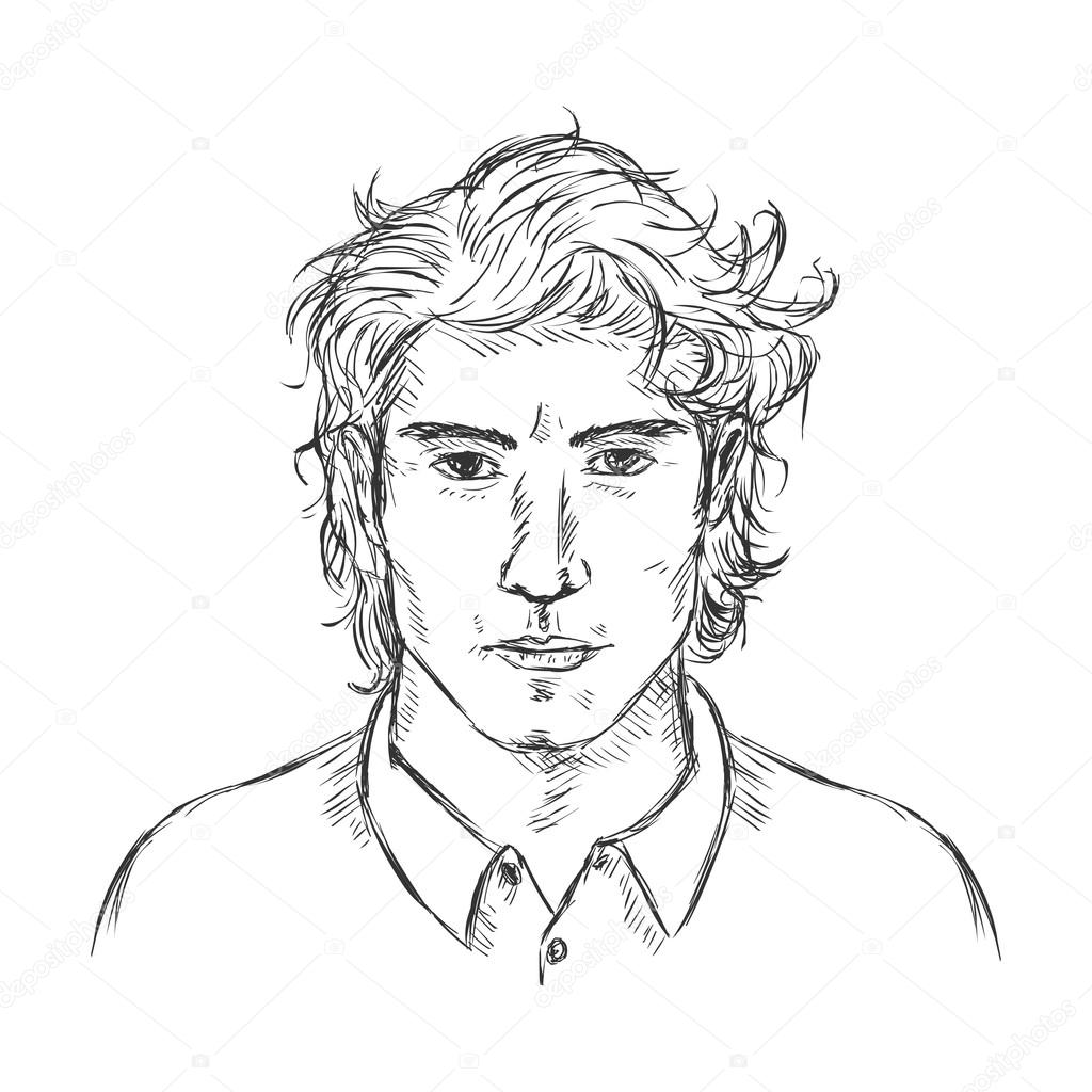 1024x1024 Single Sketch Male Face. Stock Vector Nikiteev