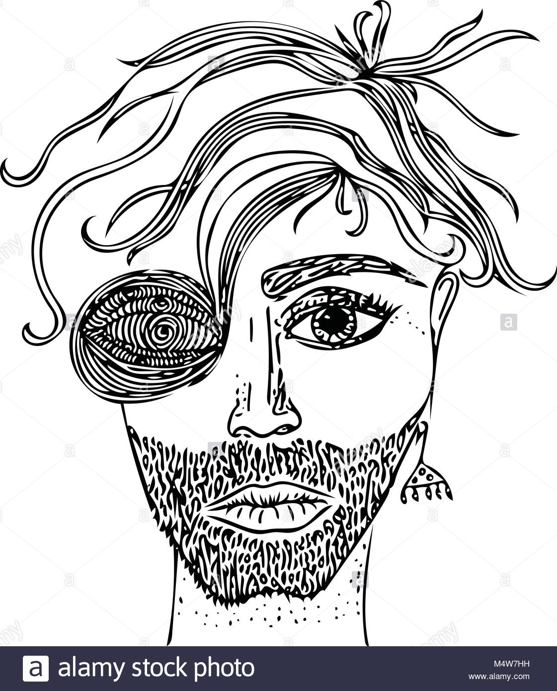 1121x1390 Sketch Fantasy Portrait Of Male Face. Vector Image, Drawn By Hand