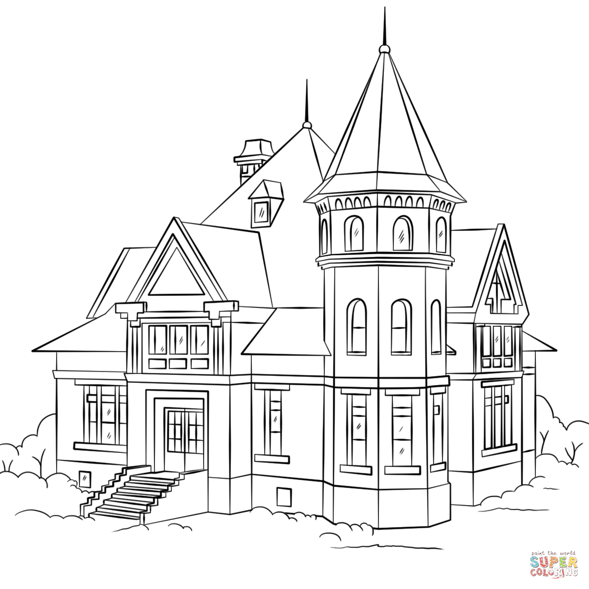 1186x1186 Victorian House Coloring Page Free Printable Coloring Pages