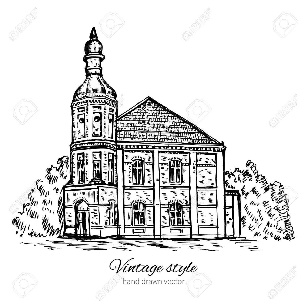 1300x1300 Vintage Vector Sketch Tile Old House, Abandoned Church, Historical