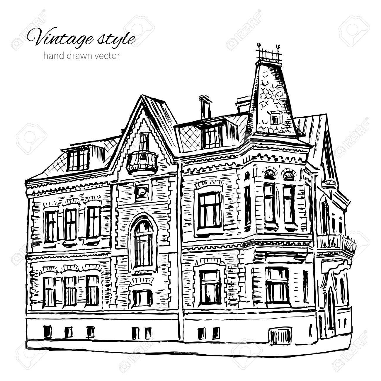 1300x1300 Vintage Vector Tile Old European House, Hand Drawn Mansion