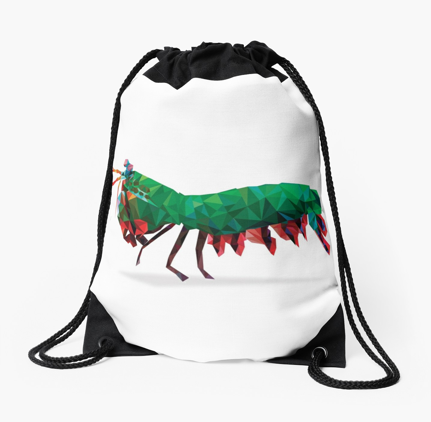 1435x1404 Geometric Abstract Peacock Mantis Shrimp Drawstring Bags By