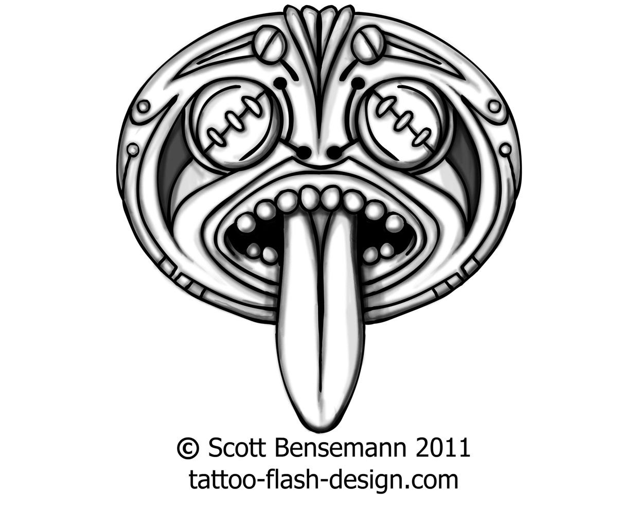 1205x1020 Totem Face Spirit Aztec Mayan Maori Tiki Tattoo