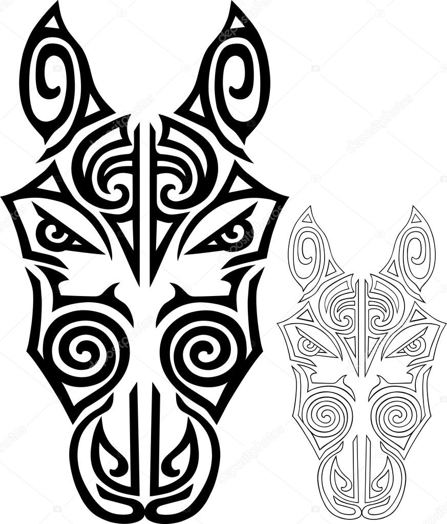 873x1023 Hand Drawn Horse Head Stylized Maori Face Tattoo. Vector Stock