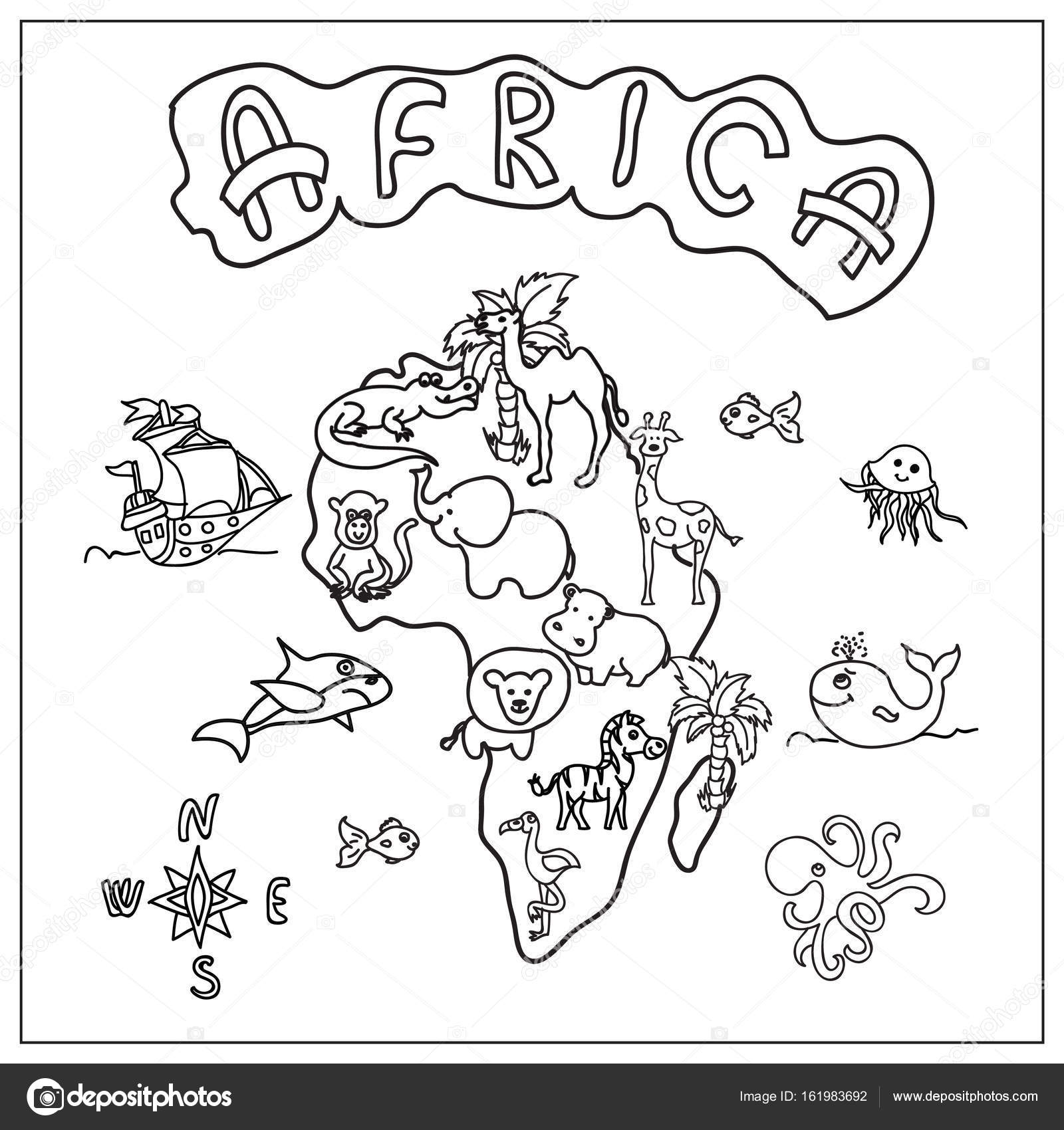 1600x1700 Africa Continent Kids Map Coloring Page Stock Photo Nuarevik