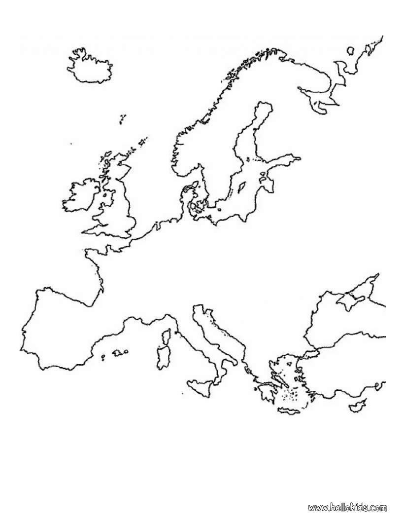 820x1060 Europe Map Coloring Pages