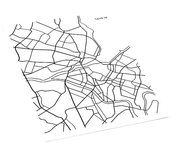 570x490 Geneva Map Art Line Drawing Switzerland Wall Art Poster