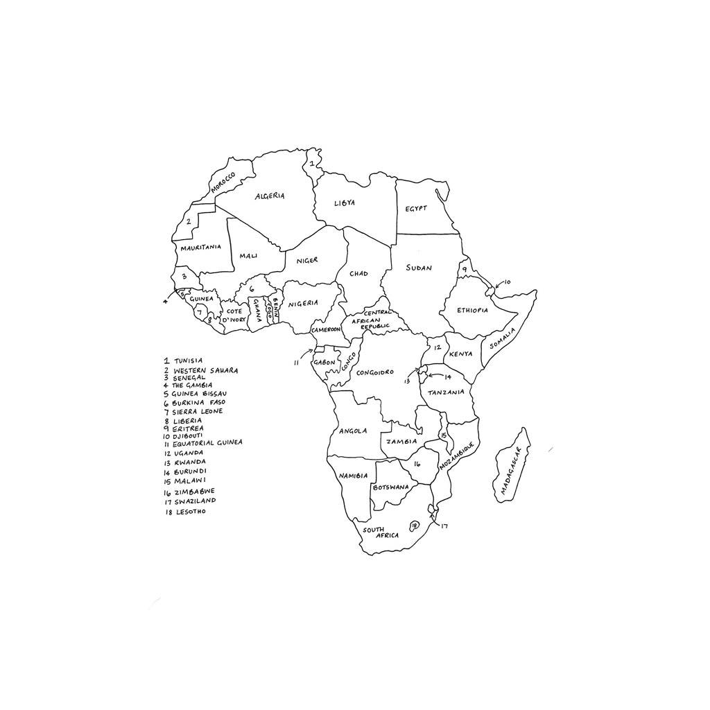 Map of africa drawing at getdrawings free for personal use map 1024x1024 personalised map of africa print by drawink designs ccuart Images