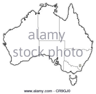 325x320 Colour Silhouette Map Of The Australian States Over A White Stock
