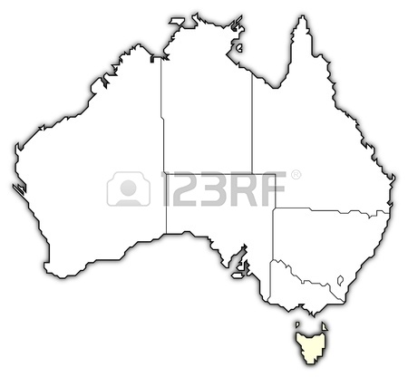450x416 Political Map Of Australia With The Several States. Stock Photo