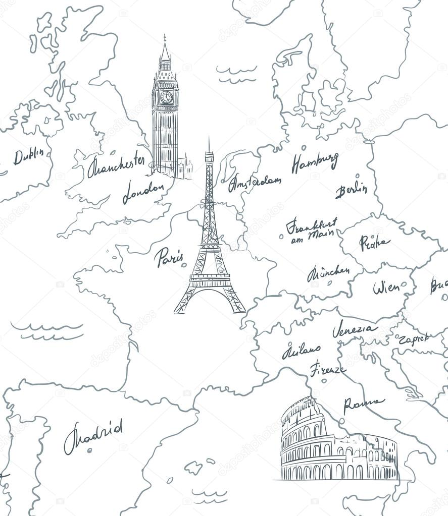 887x1023 Hand Drawn Tourist Map With Sights Of Europe Stock Vector
