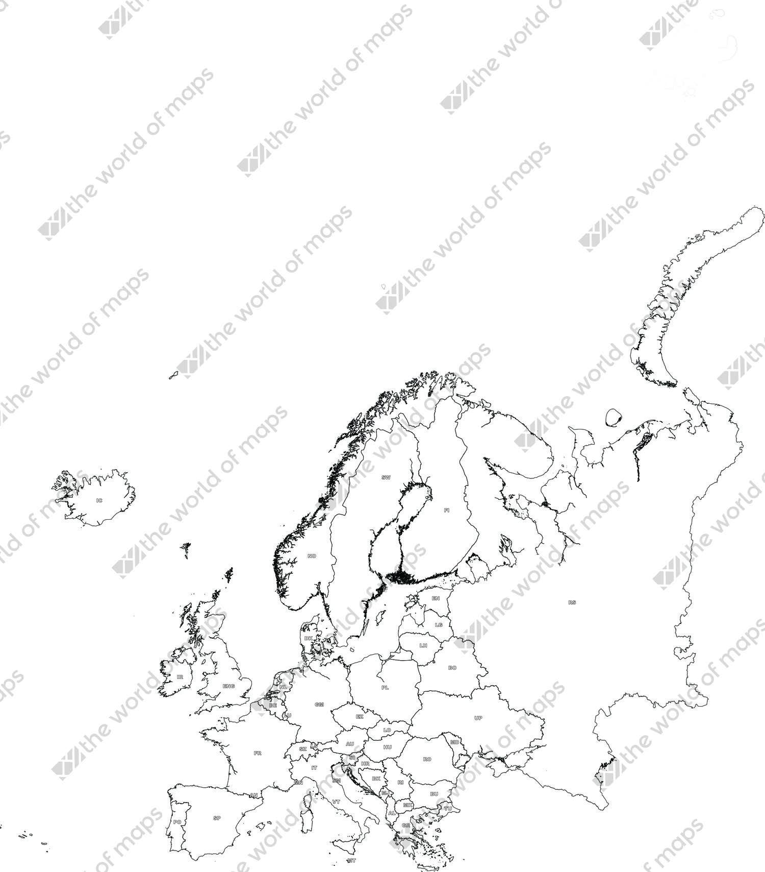 1500x1708 Digital Map Europe (Free) The World
