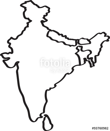 420x500 Freehand India And Nearby Countries Map Sketch On White Background