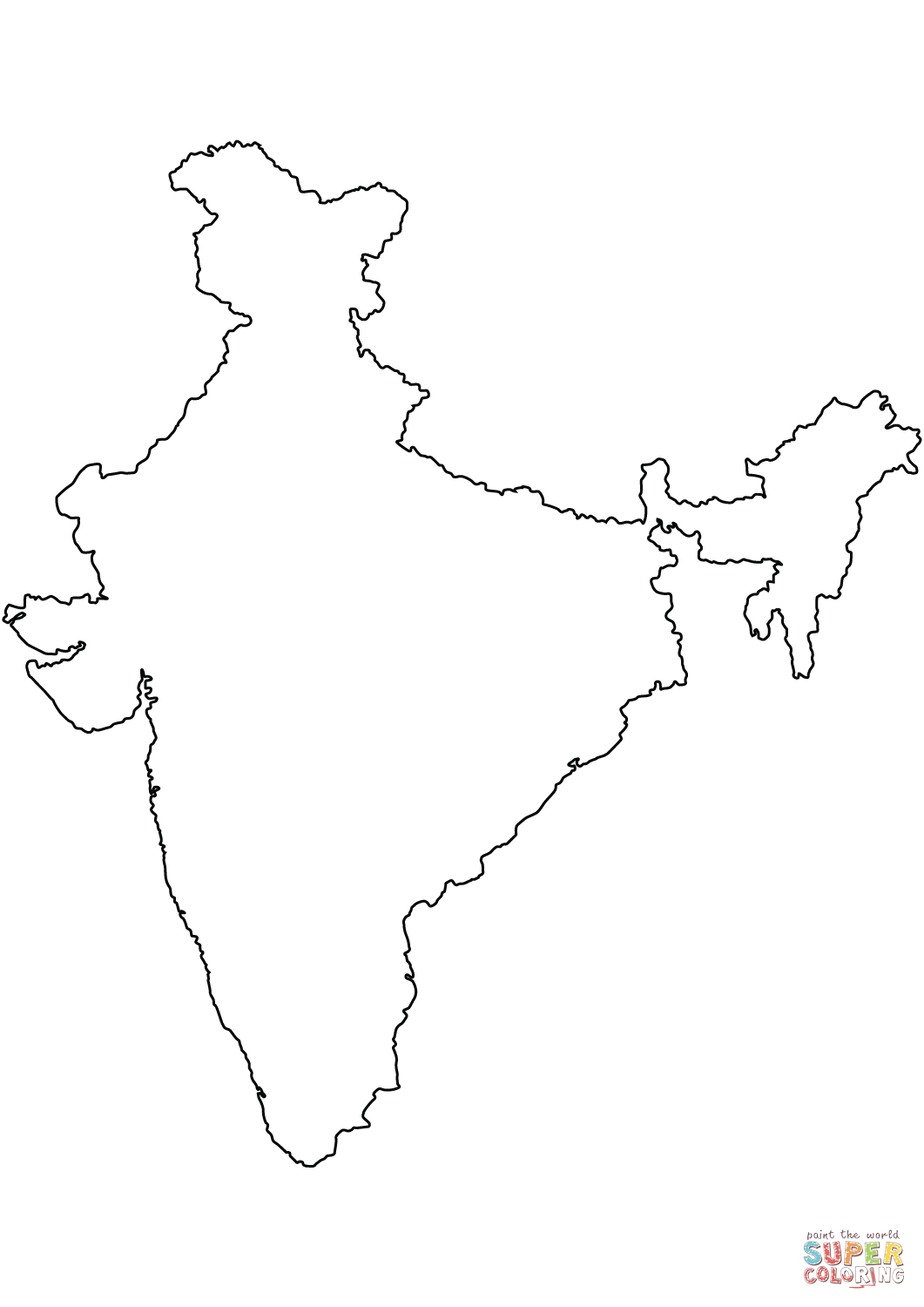 1061x1500 India Blank Outline Map Coloring Page Free Printable Coloring Pages
