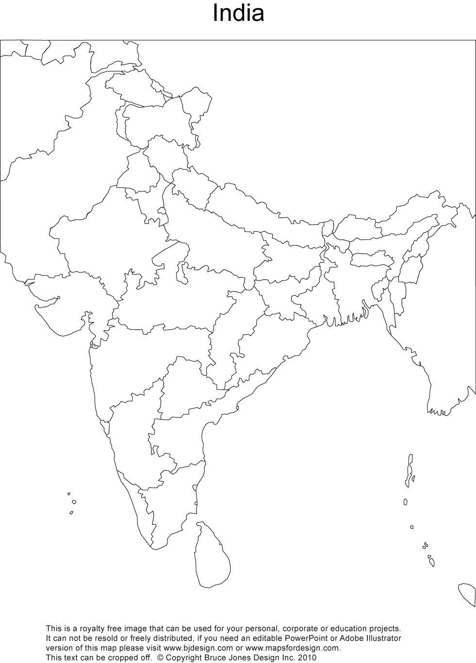 981x1365 India Printable, Blank Maps, Outline Maps Royalty Free