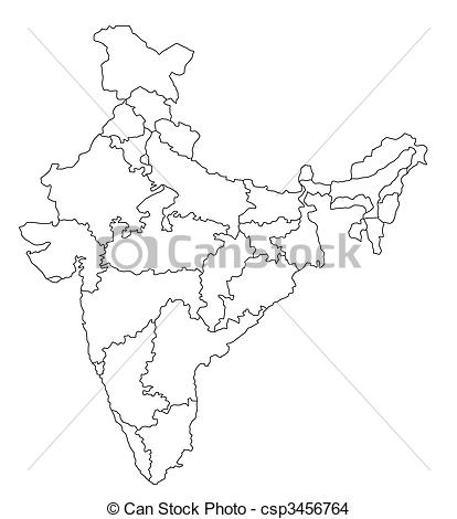 414x470 An Outlined Map Of India. All Isolated On White Background