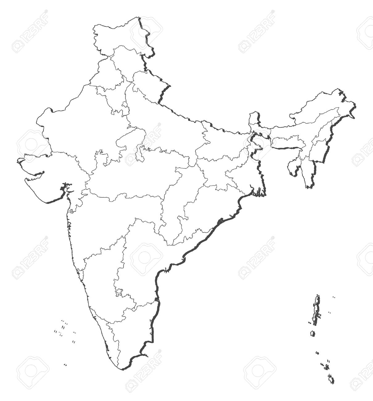1209x1300 Political Map Of India With The Several States. Royalty Free