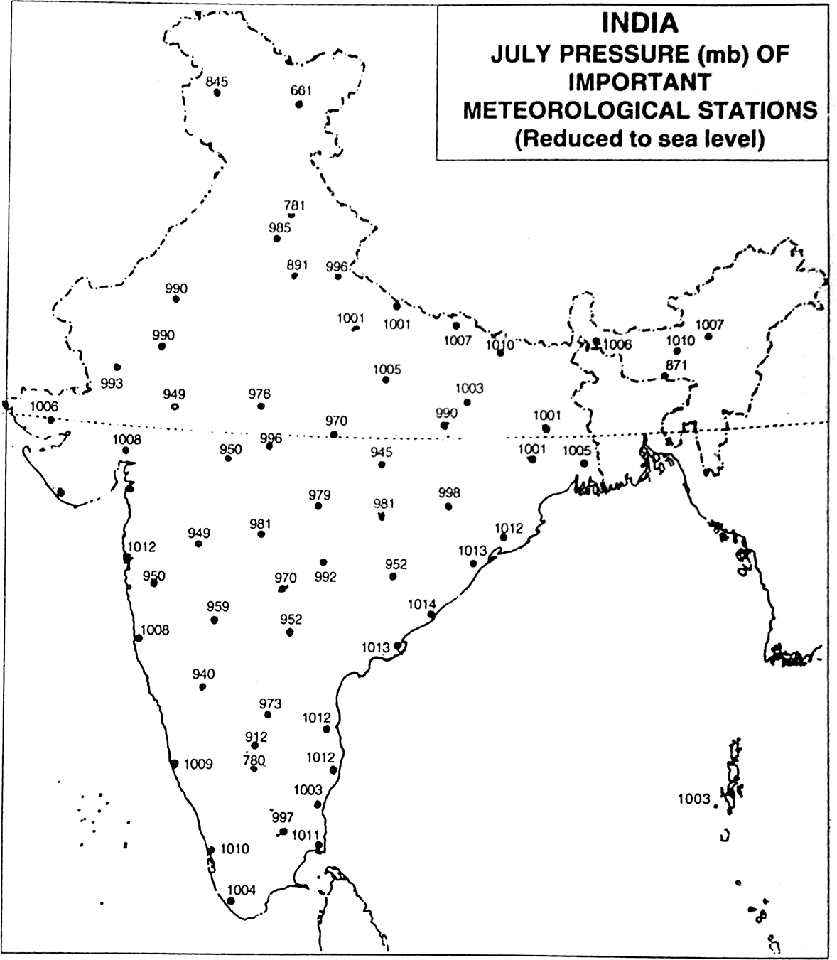 1178x1351 Draw Isobars The Map Of India Shown In The Following Fig.