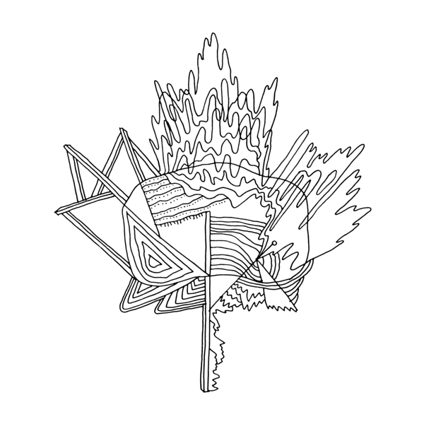 600x600 Canadian Maple Leaf Colouring Page With Abstract Drawing By Donald