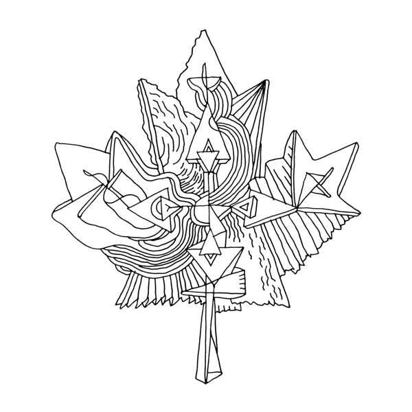 600x600 Canadian Maple Leaf Colouring Page With Abstract Drawing In Mind