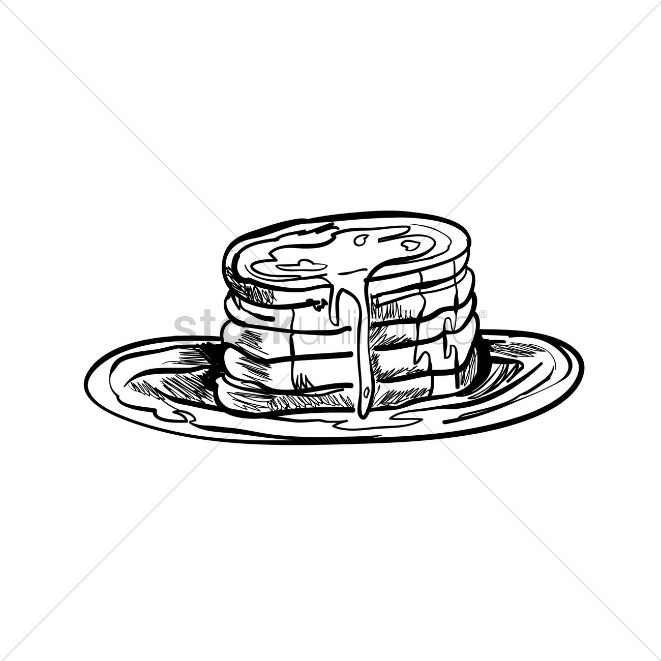 1300x1300 Maple Syrup Drizzled On Pancakes Vector Image