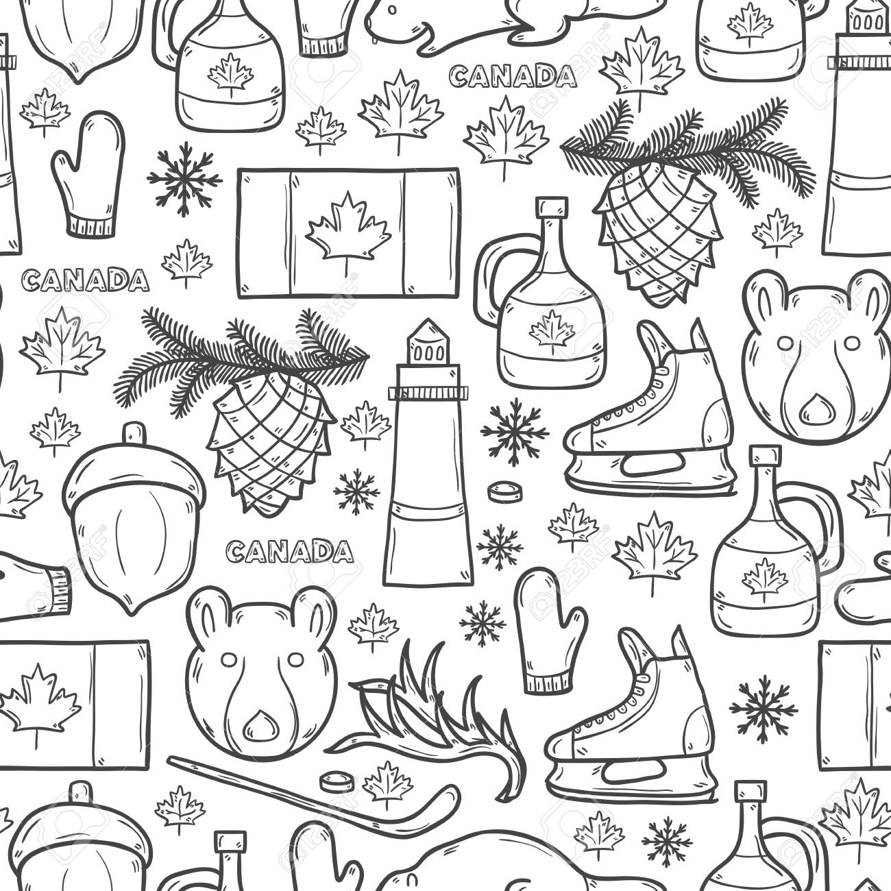 1300x1300 Seamless Background With Cartoon Hand Drawn Objects On Canada