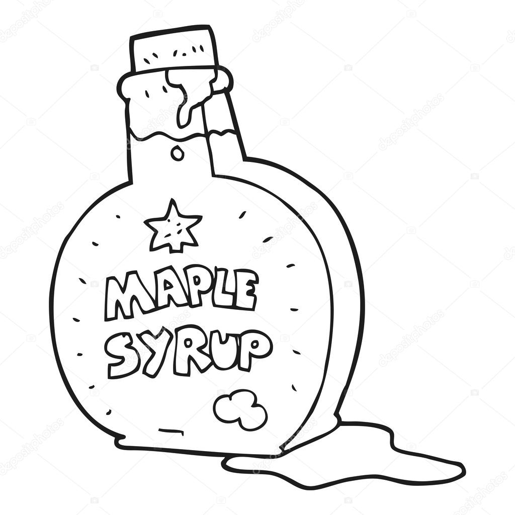 1024x1024 Black And White Cartoon Maple Syrup Bottle Stock Vector