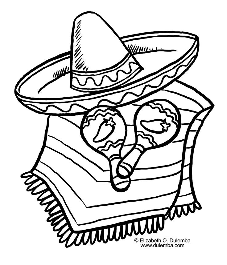 736x861 Drawings Of Cactus With Sombrero And Maracas