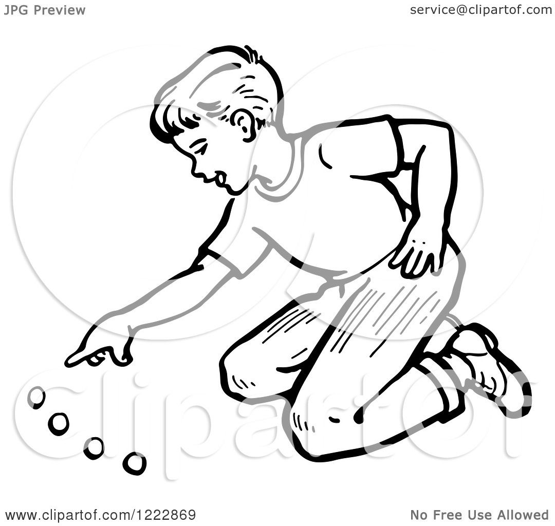 1080x1024 Clipart Of A Retro Boy Playing With Marbles In Black And White