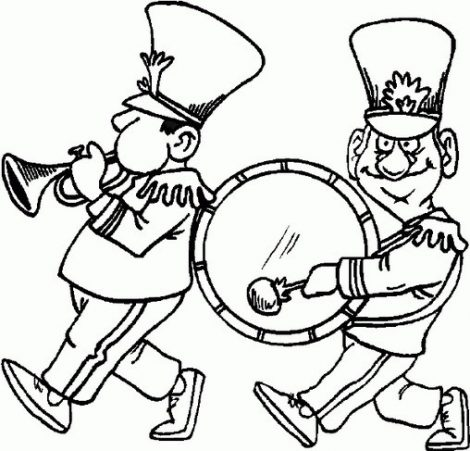 470x451 Marching Band Coloring Pages Marching Band Players Coloring Page