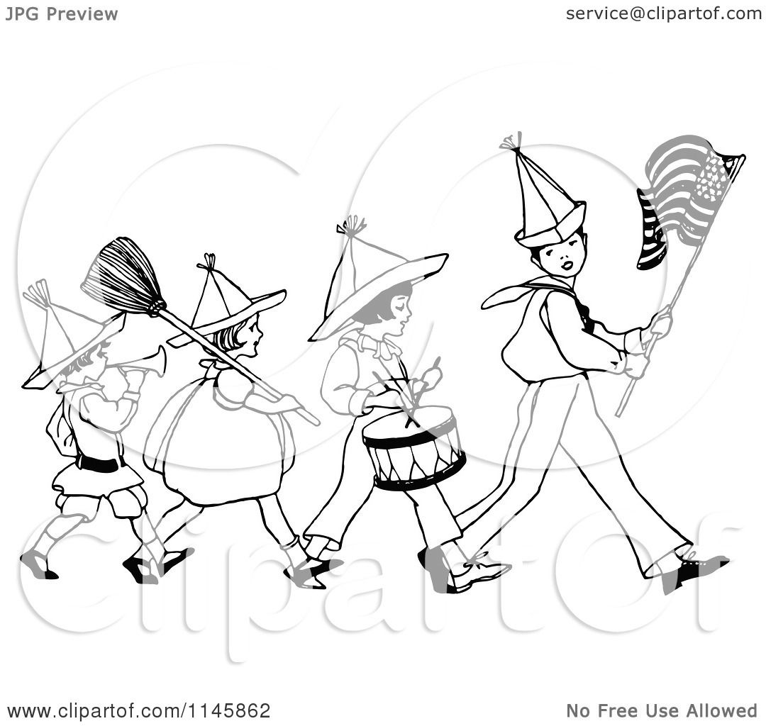 1080x1024 Clipart Of A Retro Vintage Black And White Patriotic Kid Marching