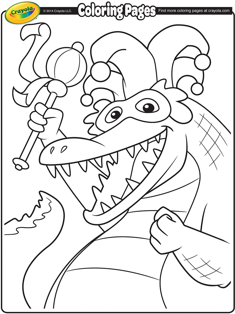 810x1080 Mardi Gras Alligator Coloring Page