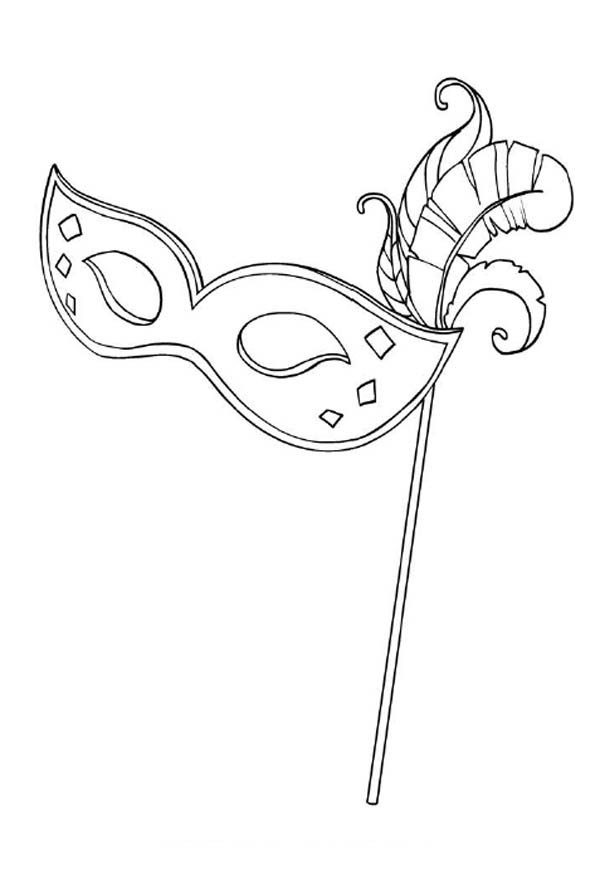 600x874 A Typical Mardi Gras Mask For Lady Coloring Page