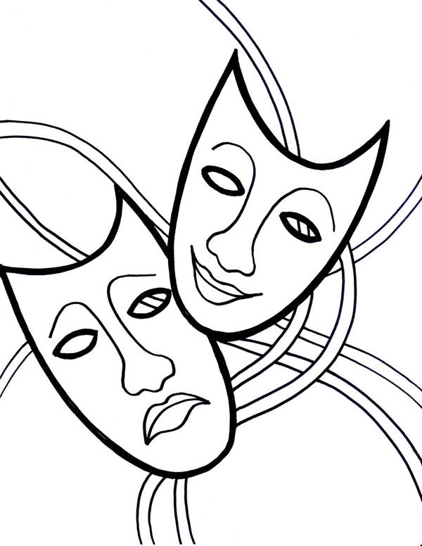 600x776 The Comedy Tragedy Mask On Mardi Gras Coloring Page