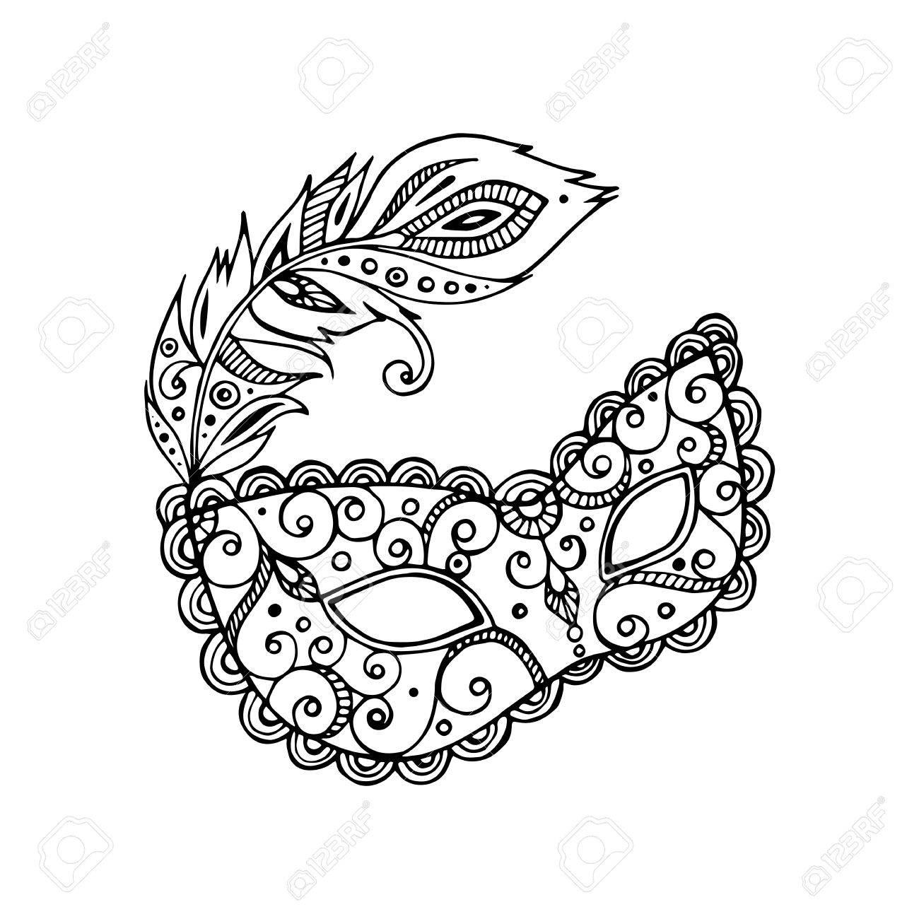 1300x1300 Black Beautiful Ornate Carnival Mardi Gras Mask, Hand Drawn Vector