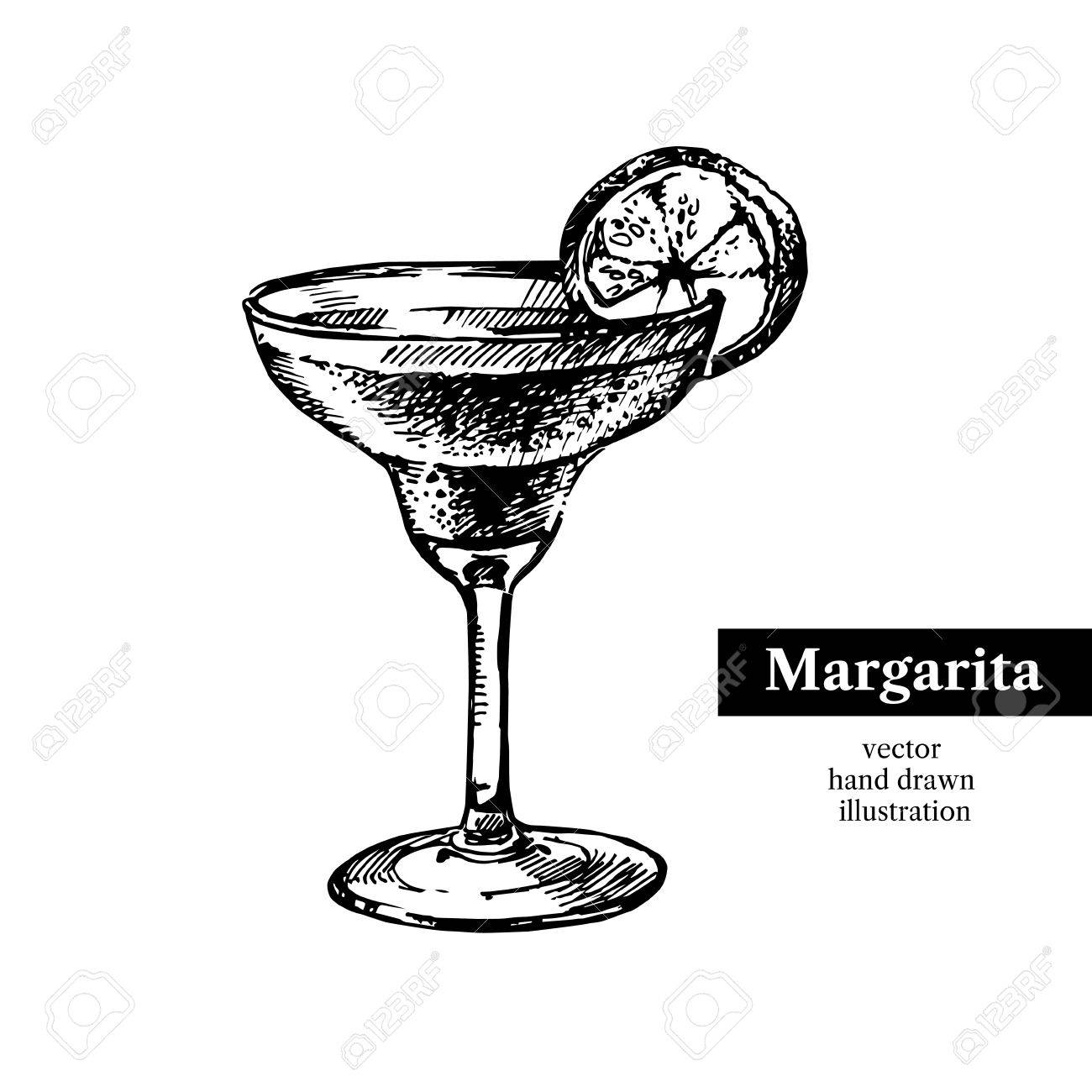 1300x1300 Hand Drawn Sketch Cocktail Margarita Vintage Isolated Object