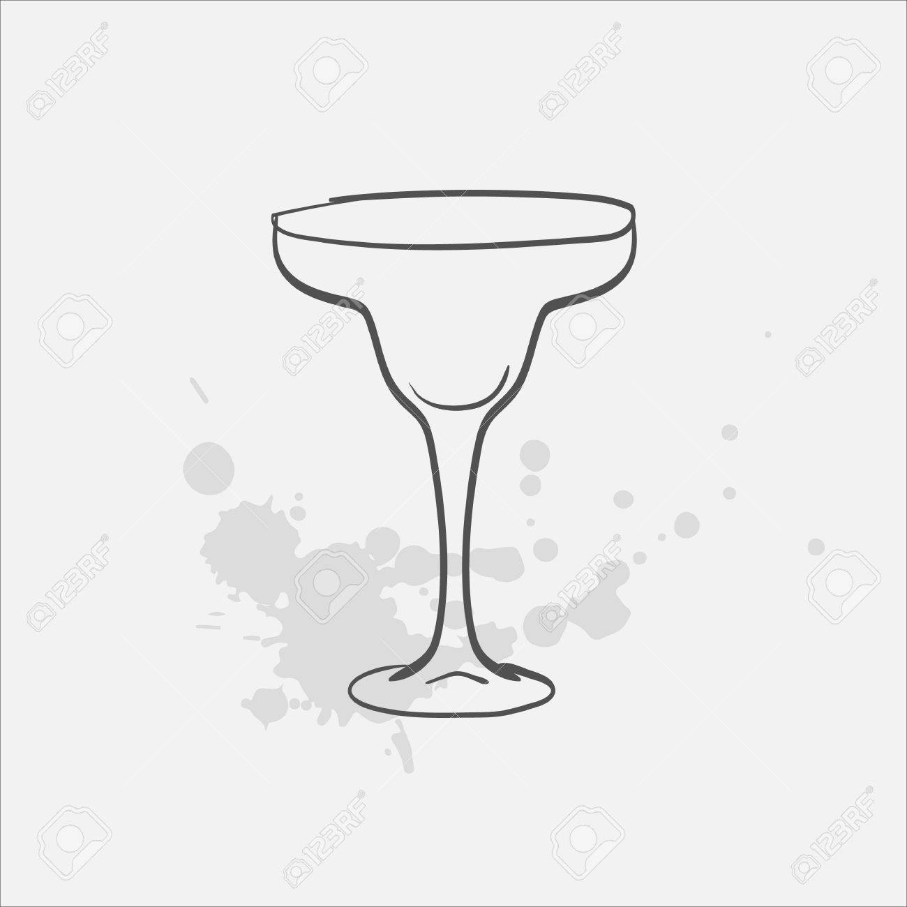 1300x1300 Margarita Glass Welled Vector Sketch Icon Royalty Free Cliparts