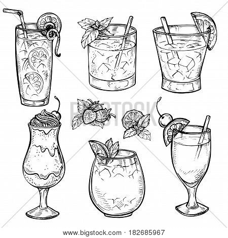 450x470 Sketch Cocktails Alcohol Drinks Vector Amp Photo Bigstock
