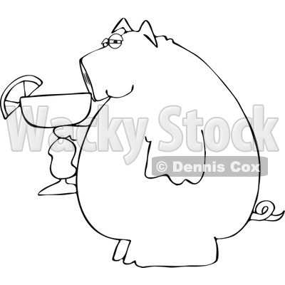 400x400 Of A Black And White Pig Holding A Margarita