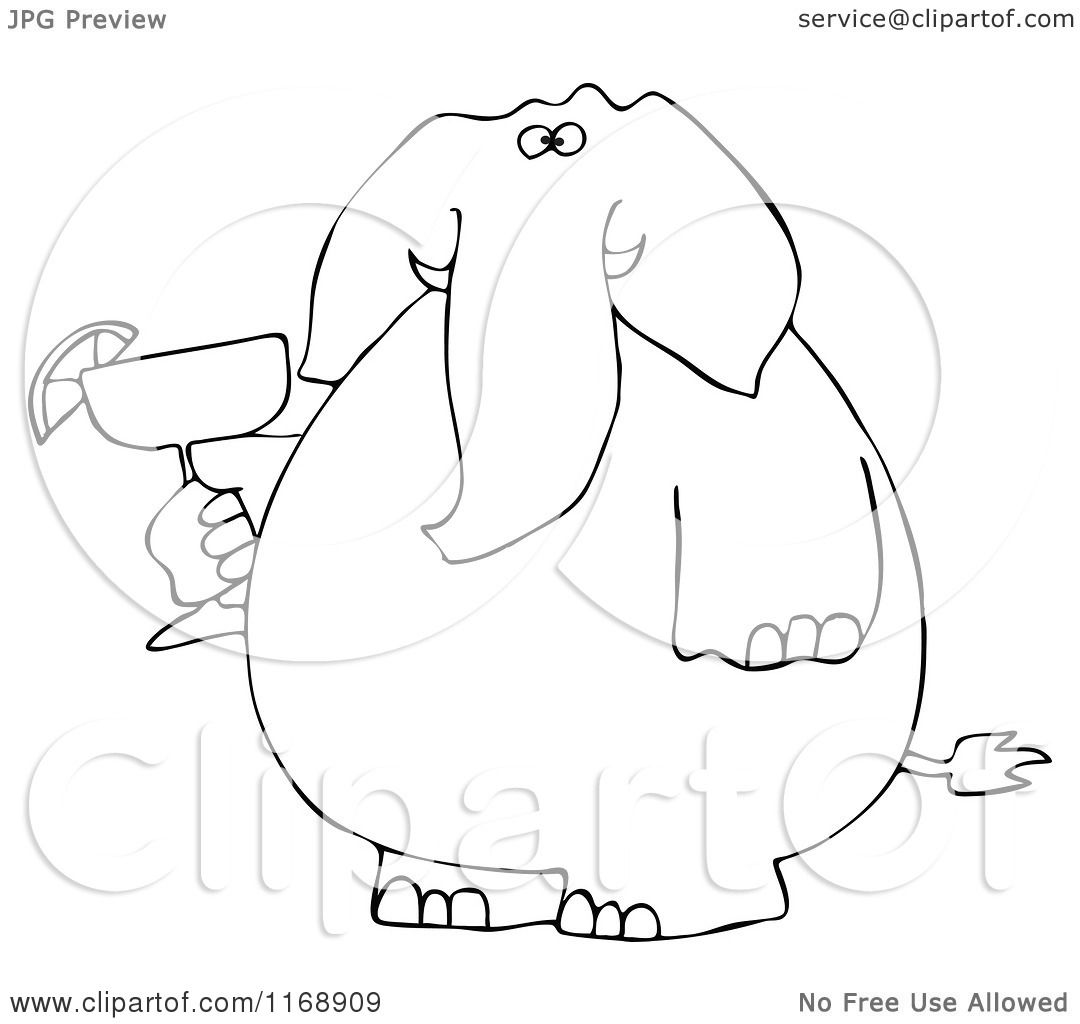 1080x1024 Cartoon Of A Black And White Elephant Holding A Margarita