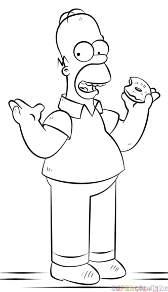332x575 How To Draw Homer Simpson Step By Step Drawing Tutorials