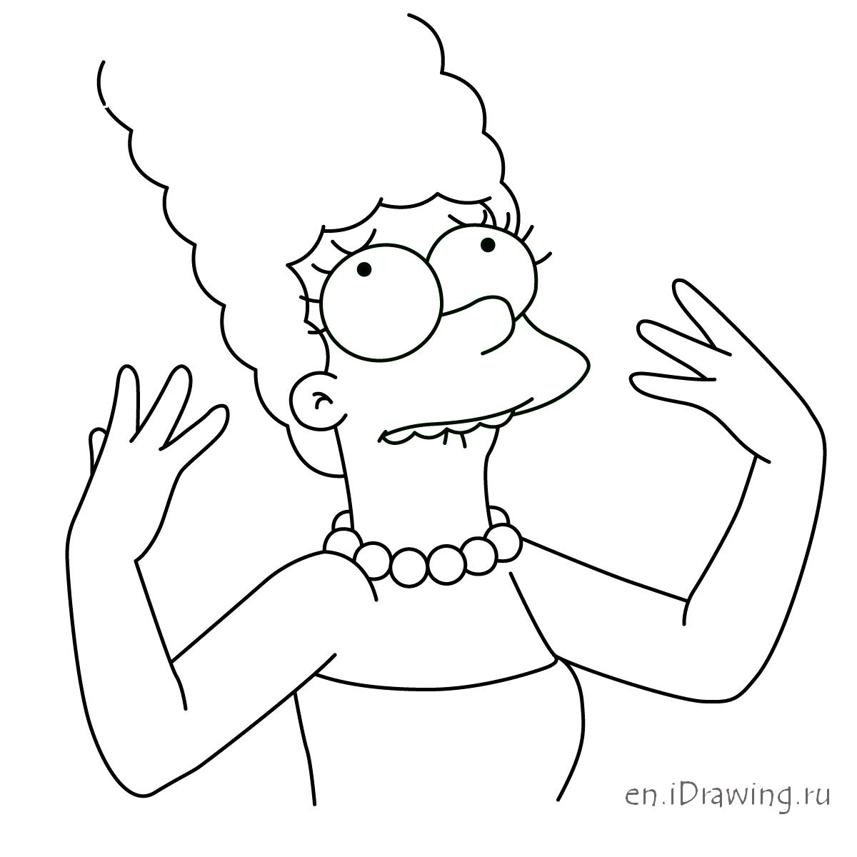 1200x1200 How To Draw The Indignant Marge Simpson