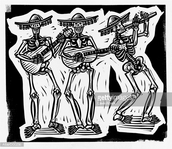 553x480 Three Skeletons Wearing Mexican Hats Playing Guitars And Flute
