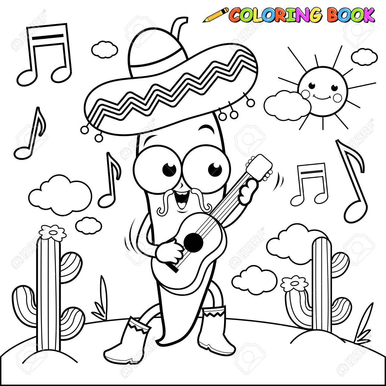 1300x1300 Mariachi Chili Pepper Playing The Guitar Coloring Page Royalty