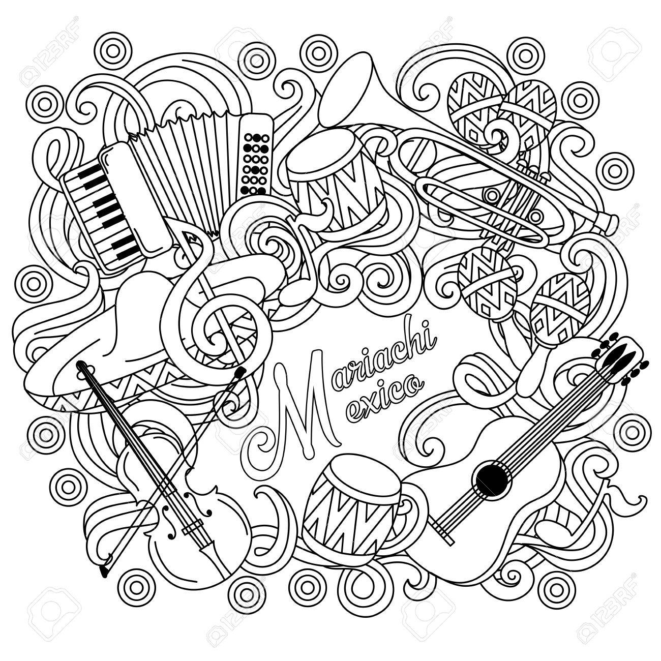 1300x1300 Mariachi Mexico Festive Sketch Background. Cartoon Vector Hand