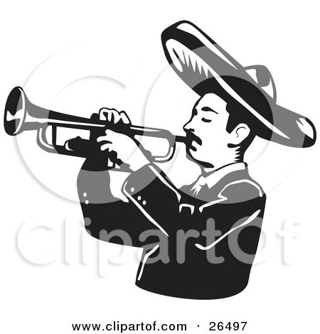 450x470 Clipart Illustration Of Happy Mariachi Band Man Wearing
