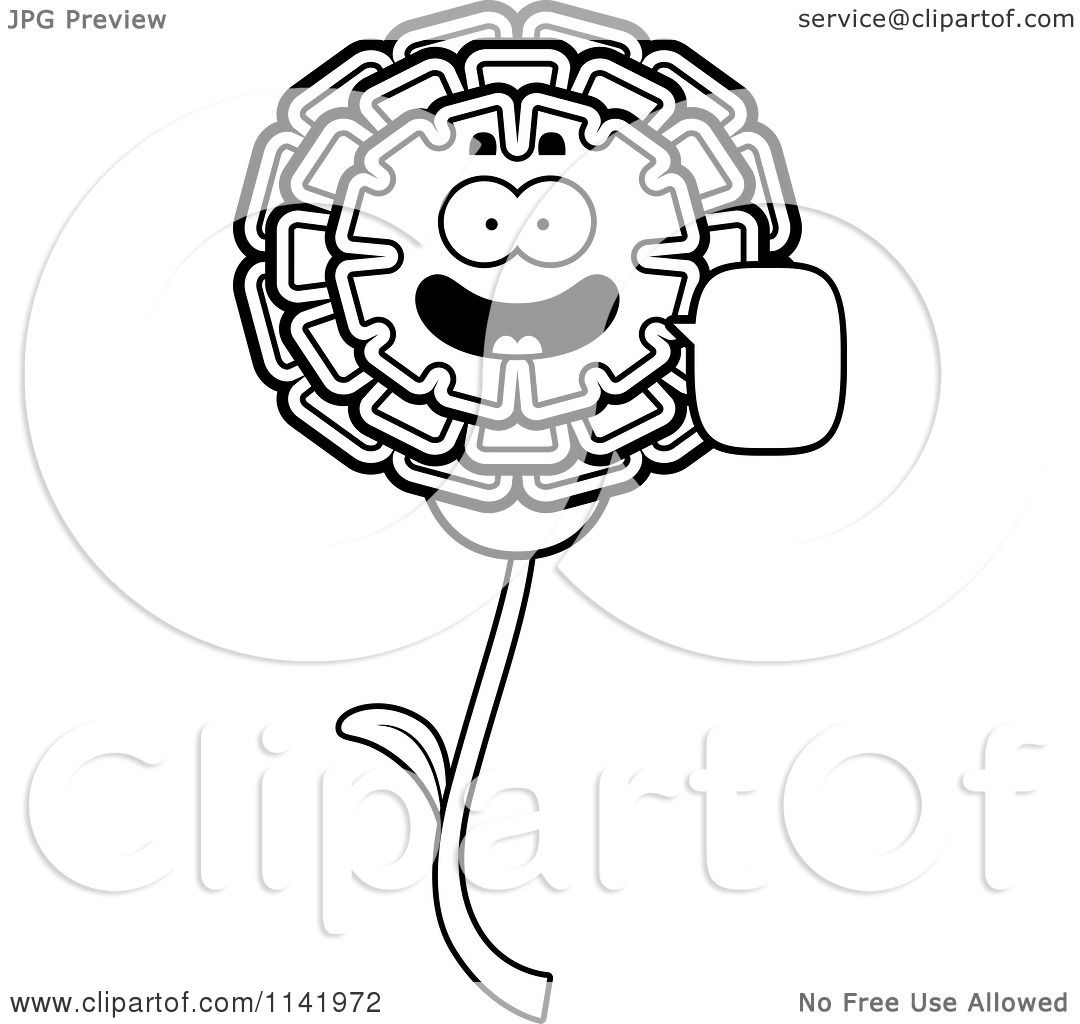 1080x1024 Cartoon Clipart Of A Black And White Talking Marigold Flower