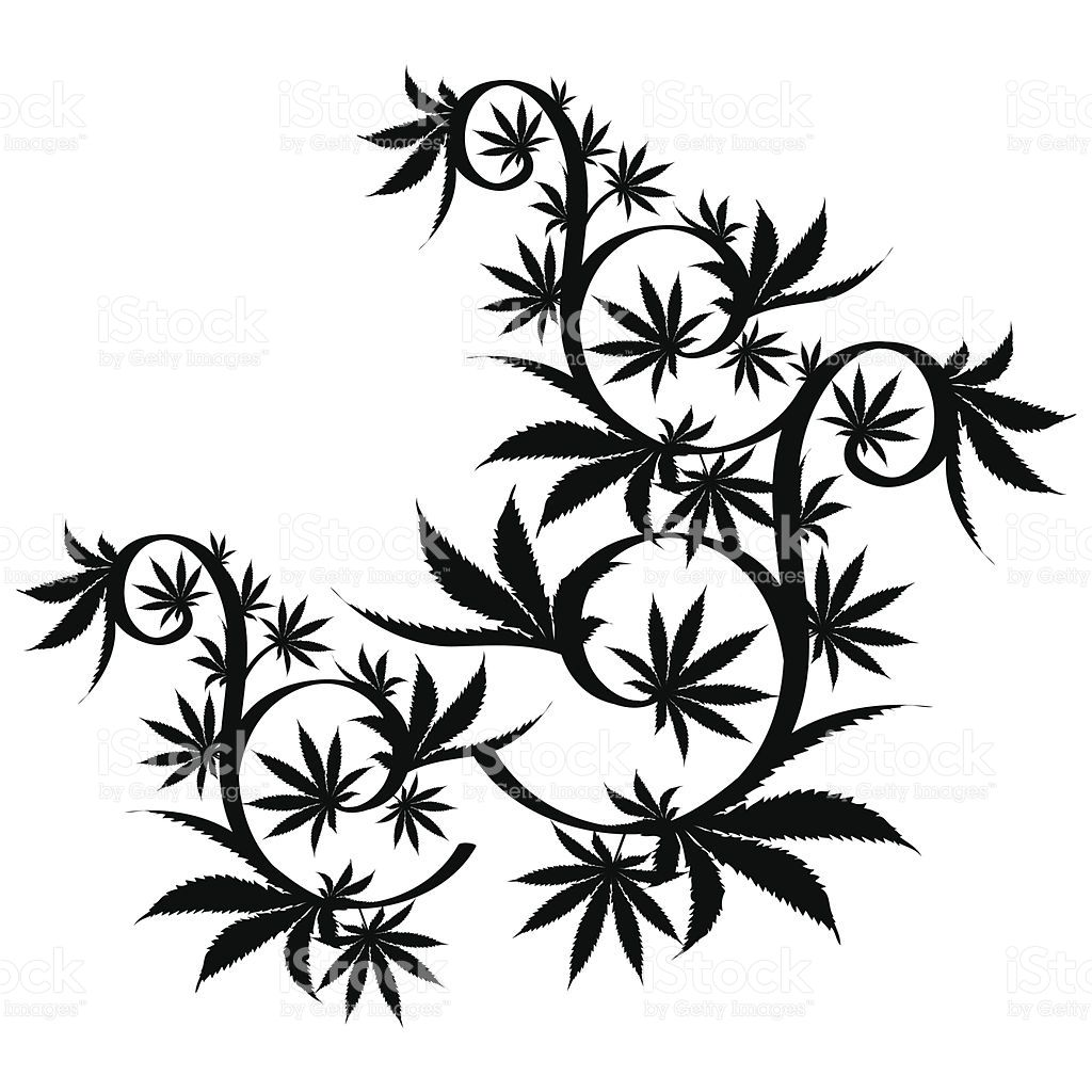 1024x1024 Black And White Vector Cannabis Leaf Composition Background