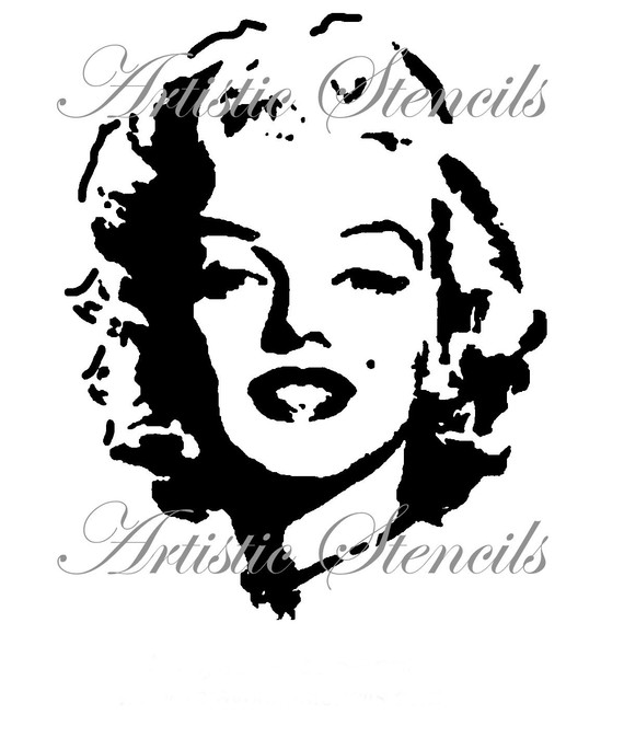 570x674 Stencil Marilyn Full Face 8 X 10 Stenciling, Face Stencils And Etsy